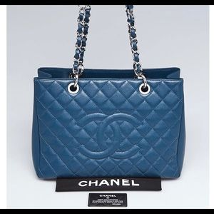 🌈Chanel Blue 💙Quilted Caviar Leather GST